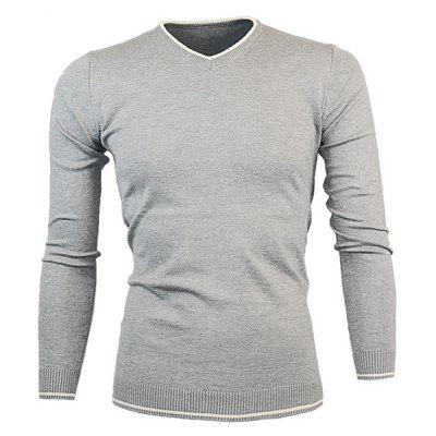 Buy LIGHT GRAY V Neck Color Block Pullover Knitwear for $16.36 in GearBest store