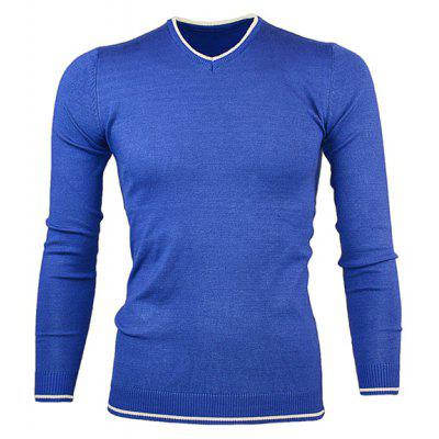 Buy BLUE V Neck Color Block Pullover Knitwear for $16.36 in GearBest store