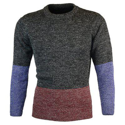 Crew Neck Color Block Pullover Heather Sweater