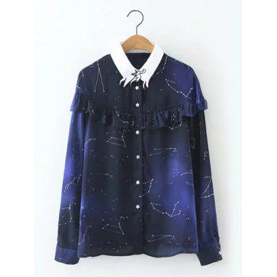 Long Sleeve Starry Sky Print Flounced Shirt
