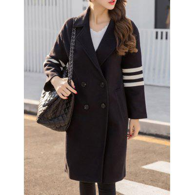Lapel Collar Letter Graphic Long Coat