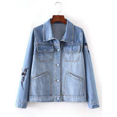 Bird Embroidery Denim Jacket