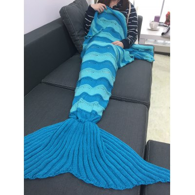 Buy BLUE Thicken Stripe Knitted Wrap Mermaid Tail Blanket for $19.43 in GearBest store