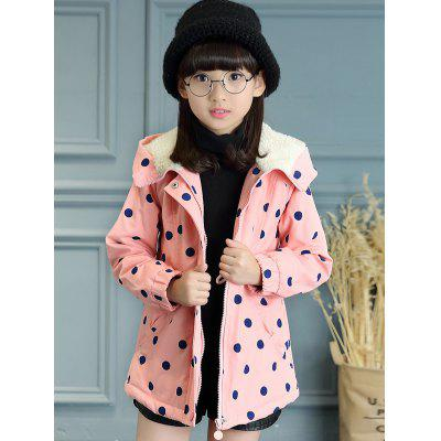 Hooded Drawstring Polka Dot Girls Coat