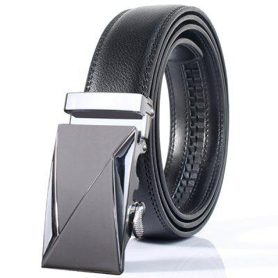 Stylish Polished Double Triangle Automatic Buckle Wide Belt