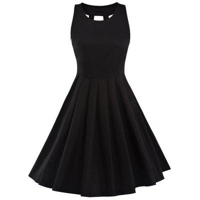 Vintage Pleated Fit and Flare Dress