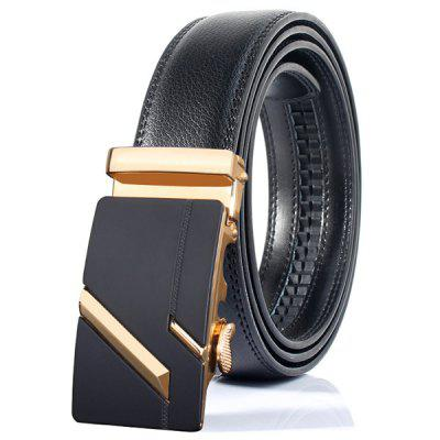 Simple Paralleled Line Automatic Buckle Wide Belt