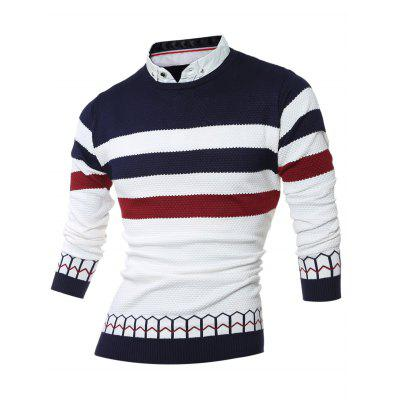 Buy CADETBLUE Faux Twinset Shirt Collar Color Block Stripe Spliced Knitting Sweater for $11.60 in GearBest store