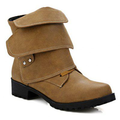 Metallic Buckle Fold Over Ankle Boots