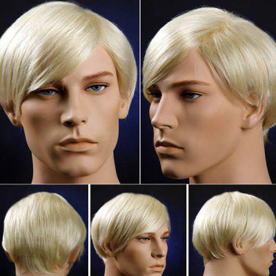 Short Oblique Bang Straight Men's Synthetic Wig