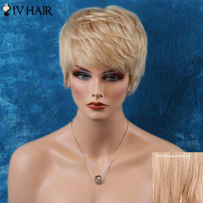 Buy BROWN WITH BLONDE Siv Straight Short Layered Inclined Bang Human Hair Wig for $48.18 in GearBest store