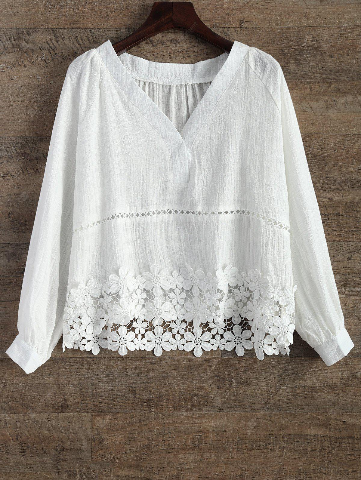 V Neck Lacing Spliced Hollow Out Blouse