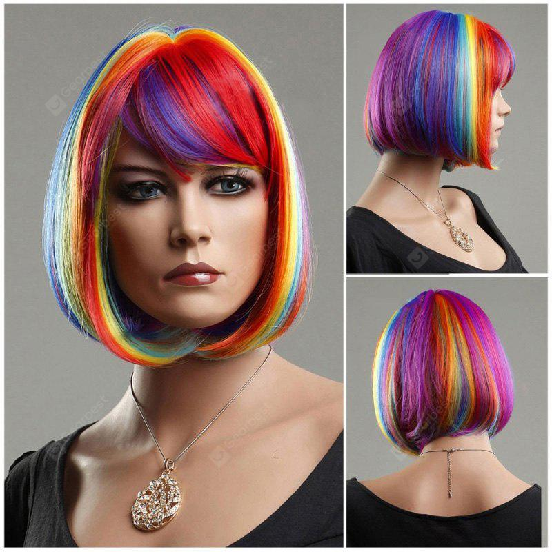 Rainbow Short Side Bang Straight Cosplay Synthetic Wig