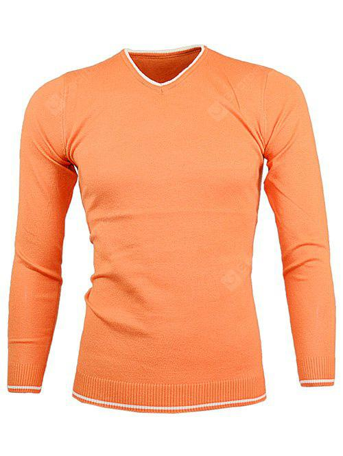 ORANGE V Neck Color Block Pullover Knitwear