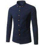 Buy CADETBLUE Long Sleeves Plain Button Down Shirt for $23.24 in GearBest store