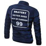 cheap Graphic Print Plus Size Stand Collar Zip Up Quilted Jacket
