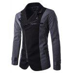Turndown Collar Zipper Design Color Block Spliced Jacket - BLACK