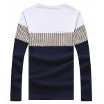cheap Long Sleeve Color Block Striped Tee