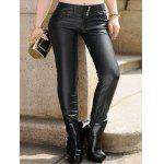 cheap Plus Size Five Pockets PU Leather Pants