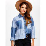 Color Block Pockets Patched Chambray Shirt - DENIM BLUE