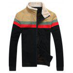 Contrast Paneled Flocking Zip Up Jacket