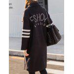 Lapel Collar Letter Graphic Long Coat for sale