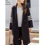 cheap Lapel Collar Letter Graphic Long Coat