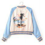 cheap Flower Print Spring Baseball Jacket