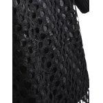 Plus Size Hollow Out Lace Splicing Knit Dress - BLACK