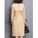 Sueded Patched Patterned Trench Coat - KHAKI