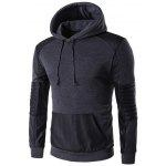 Color Block PU Leather Splicing Design Hoodie - DEEP GRAY