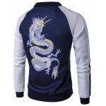 cheap Stand Collar Zip Up Dragon Print Raglan Sleeve Jacket