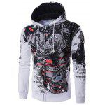 Hooded Abstract Print Zip Up Hoodie - WHITE