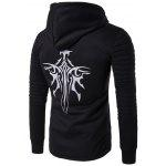 Hooded Longline Graphic Print Zip Up Rib Design Black Hoodie Mens - BLACK