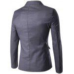 Stand Collar Single Breasted Simple Blazer - GRAY