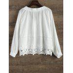 V Neck Lacing Spliced Hollow Out Blouse - WHITE