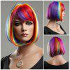 Rainbow Short Side Bang Straight Cosplay Synthetic Wig - COLORFUL