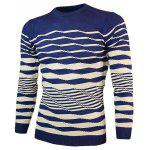 cheap Crew Neck Wave Stripe Pullover Knitwear