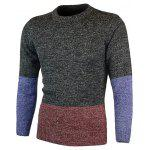 cheap Crew Neck Color Block Pullover Heather Sweater