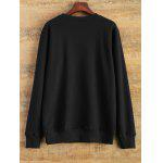 Patterned Crew Neck Sweatshirt - BLACK