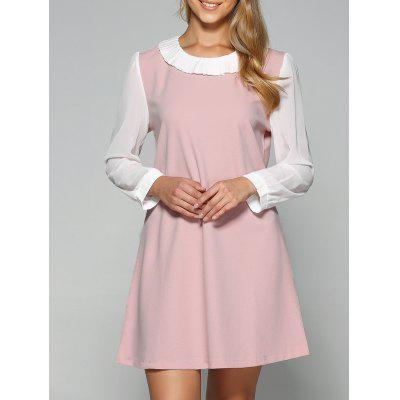 Plus Size Pleated Two Layered Collar Loose A Line Dress