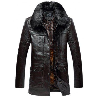 Zippered Faux Fur Collar Flocking PU Leather Coat