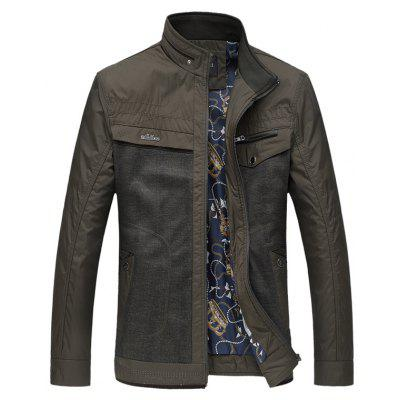 Buy GREEN 7XL Stand Collar Plus Size Spliced Design Zipper Jacket for $41.75 in GearBest store