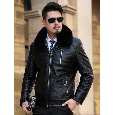 Detachable Faux Fur Collar Plus Size Flocking PU Leather Jacket