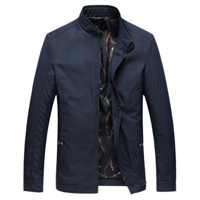 Stand Collar Side Pocket Zip Up Padded Jacket