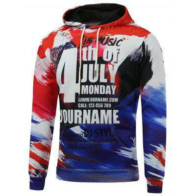 4th of July Printed Kangaroo Pocket Hoodie