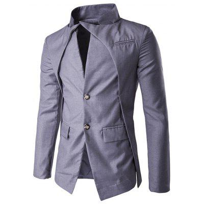 Buy GRAY Pocket Stand Collar Layered Two Button Blazer for $34.54 in GearBest store