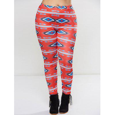 Plus Size Ornate Geometric Print Leggings