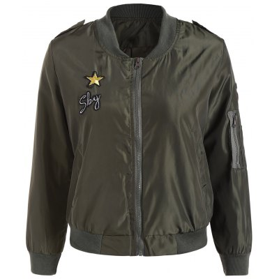 Zip Up Patched Bomber Jacket