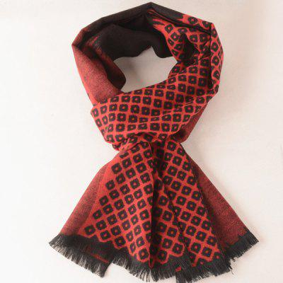 Warm Hollow Square Pattern Fringe Scarf